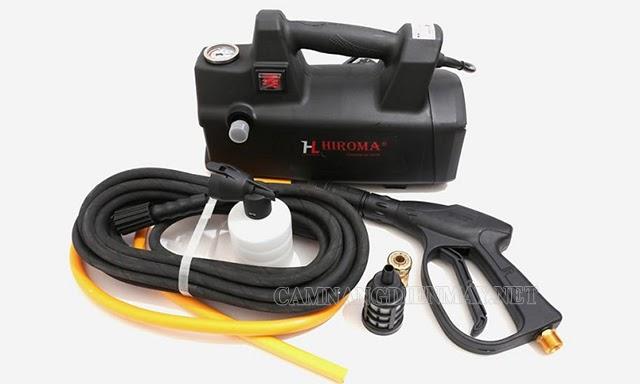Máy rửa xe Hiroma được trang bị đủ bộ phụ kiện đi kèm.