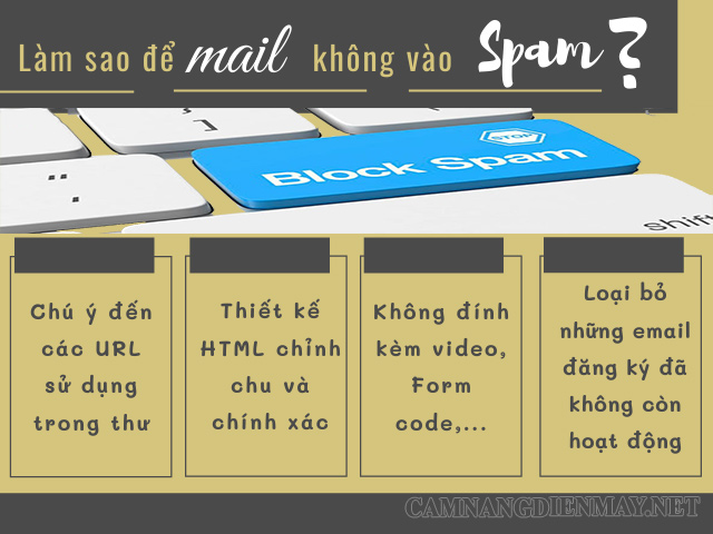 Một số lưu ý cần thực hiện để tránh mail bị gửi vào spam