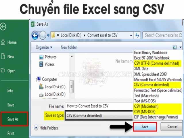 Chuyển đổi file Excel sang Csv sẽ giúp ích rất nhiều
