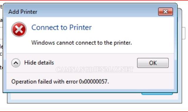 Lỗi không nhận máy in là lỗi excel thường gặp