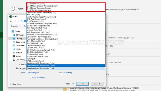 Thay đổi định dạng file ban đầu để khắc phục lỗi excel không lưu được