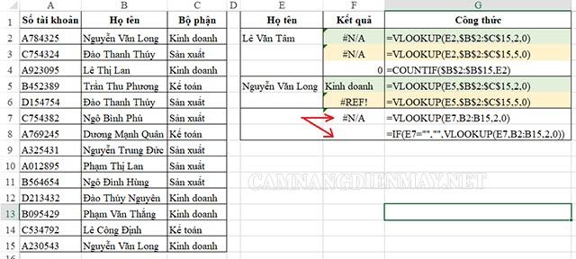 Lỗi #n/a thường xuất hiện khi vùng tham chiếu hoặc công thức bị thừa hoặc thiếu ký tự