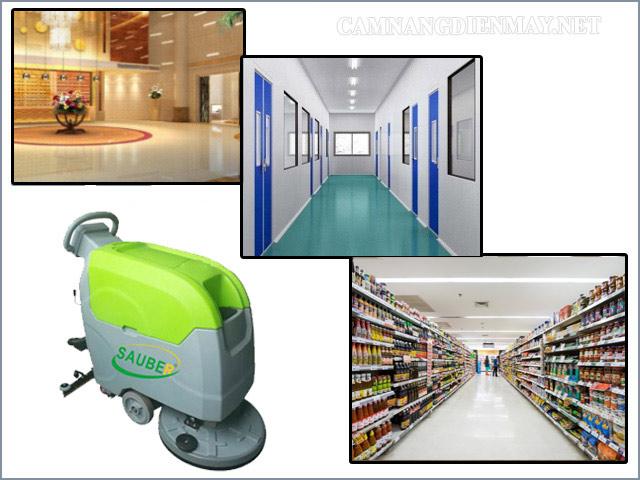 Máy chà sàn liên hợp thương hiệu Sauber được sử dụng tại nhiều đơn vị có diện tích mặt sàn rộng