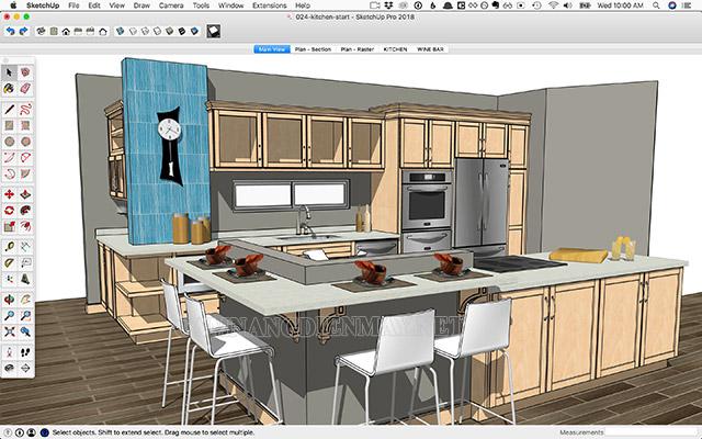 Sketchup - tích hợp các tính năng hỗ trợ thiết kế nhà