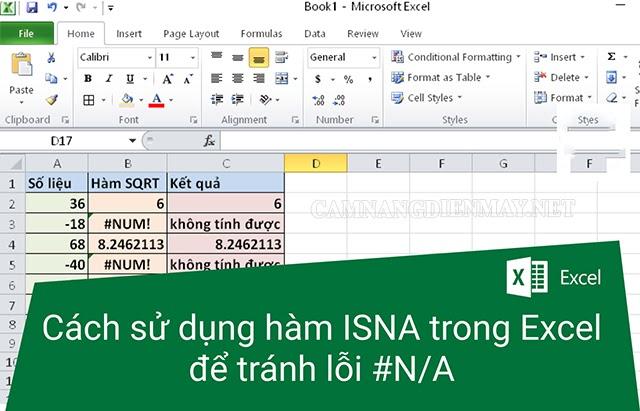 Hàm ISNA dành riêng để sửa lỗi #N/A trong Excel