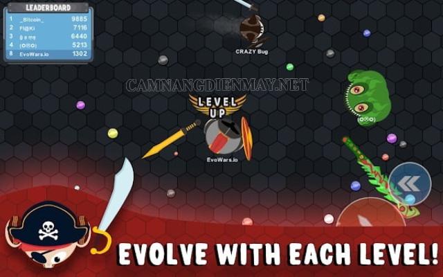 Càng tăng level Evowars thì càng khó khăn để chiến đấu