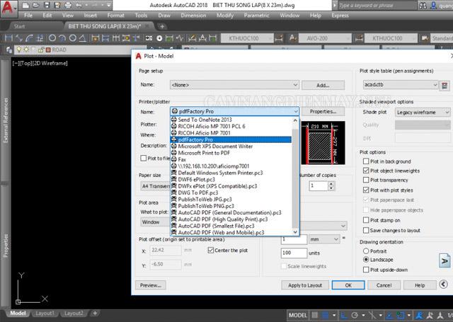 chuyển file cad sang pdf