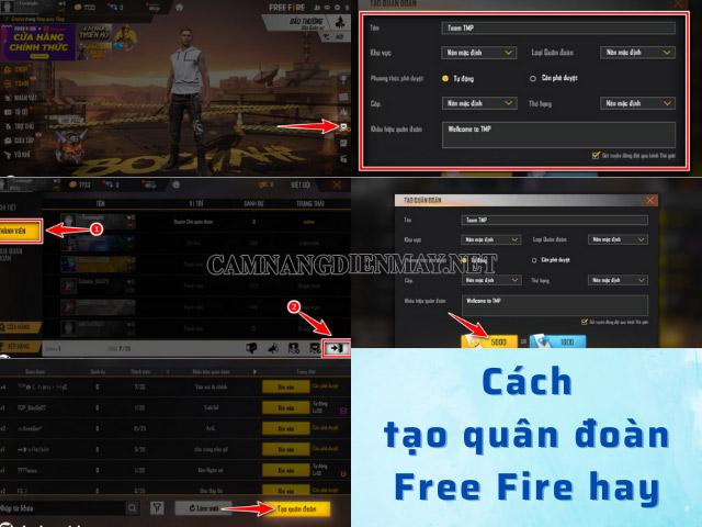 Các bước tạo tên quân đoàn free fire đơn giản